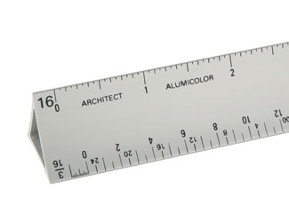 "Alumicolor Architects 12"" Hollow Aluminum Triangular Drafting Scale (3030-1)"