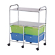 Alvin Blue Hills Studio Storage Cart 4-Drawer (Deep) with 2-Shelf Multi-Colored (SC4MCDW-S)