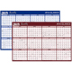 "AT-A-GLANCE  Erasable Two-Sided Horizontal Yearly Wall Calendar 36""x24"" Red/Blue 2019 (A102-19)"