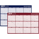 "AT-A-GLANCE  Erasable Two-Sided Horizontal Yearly Wall Calendar 48""x32"" Red/Blue 2019 (A152-19)"