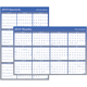 "AT-A-GLANCE  Erasable Two-Sided Vertical/Horizontal Yearly Wall Calendar 24""x36"" Blue and Gray 2019 (A1102-19)"