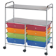 Alvin Blue Hills Studio Storage Cart 8-Drawer (Wide) with 2-Shelf Multi-Colored (SC8MCDW-12-S)