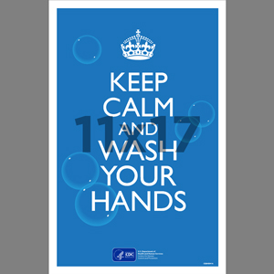 Blue Keep Calm Wash Your Hands Poster English (CDC8)