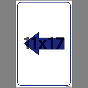 Blue Left Arrow Coroplast Sign English (EDU19)