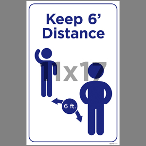 Blue Keep 6' Distance Coroplast Sign English (EDU45)
