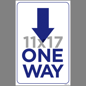 Blue One Way Down Arrow Coroplast Sign English (EDU50)