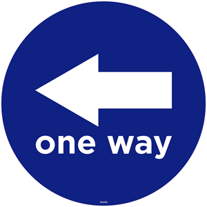 "Blue One Way Left Arrow 13"" Self-Adhesive Decal English (EDU52)"