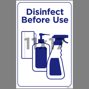 Blue Disinfect Before Use Poster English (EDU70)