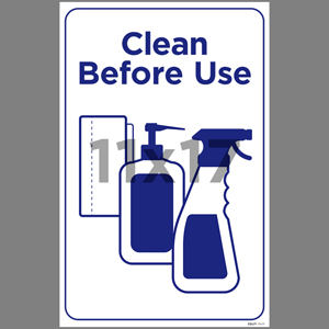 Blue Clean Before Use Poster English (EDU71)