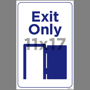 Blue Exit Only Poster English (EDU78)