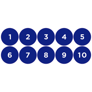 "Blue 1-10 Numbered Dots Set 13"" Self-Adhesive Decal English (EDU79)"