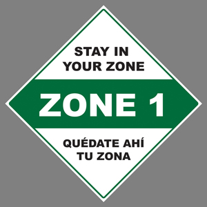 "Green, Black, And White Stay In Your Zone 1 24""x24"" Self-Adhesive Decal English/Spanish (JS6)"