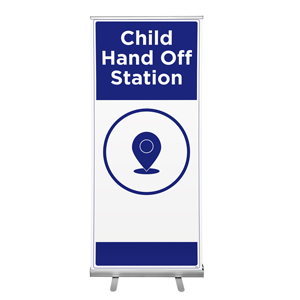 "Blue Child Hand Off Station 36""x84"" Popup Retractable Banner English (POP8)"