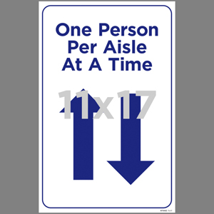 Blue One Person Per Aisle At A Time Poster English (RTW43)