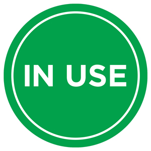 "Green And White In Use 13"" Self-Adhesive Decal English (SAF28)"